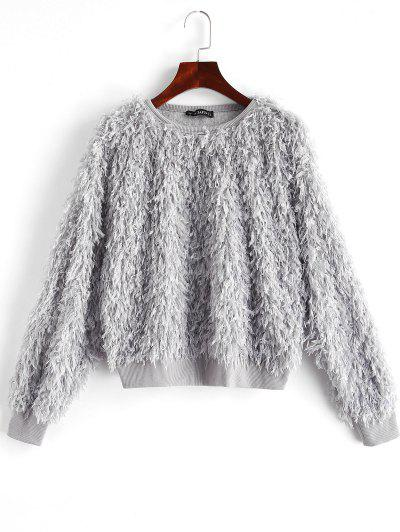 ZAFUL Solid Color Drop Shoulder Fuzzy Sweatshirt - Dark Gray L