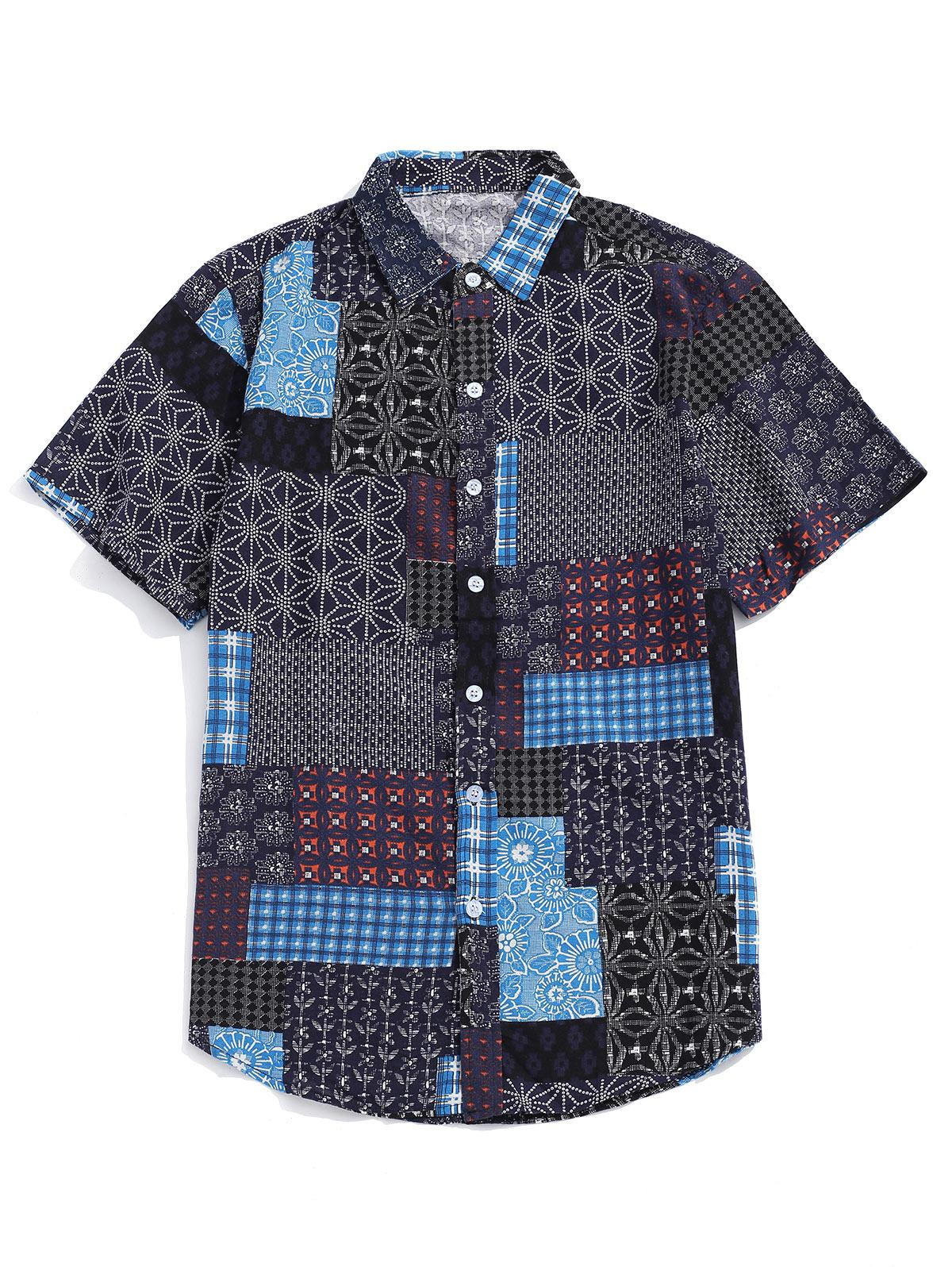 Tribal Ditsy Print Shirt Maniche Corte