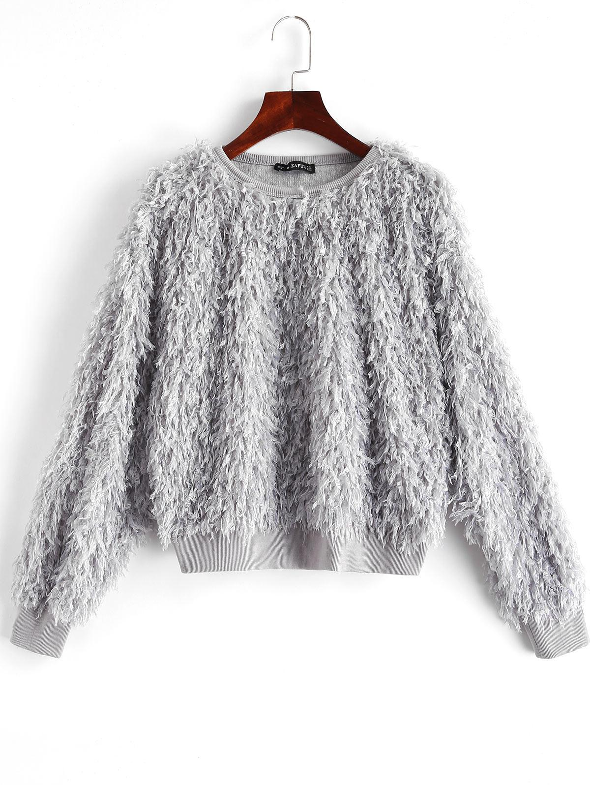 ZAFUL Solid Color Drop Shoulder Fuzzy Sweatshirt