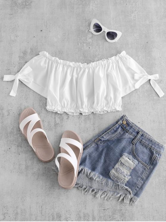 unique Tie Frilled Off The Shoulder Top - WHITE M