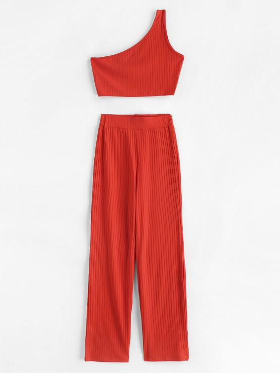 outfit Ribbed Cropped One Shoulder Top And Pants Set - BRIGHT ORANGE S