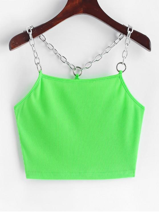 fashion Ribbed Chain Straps Crop Tank Top - GREEN S