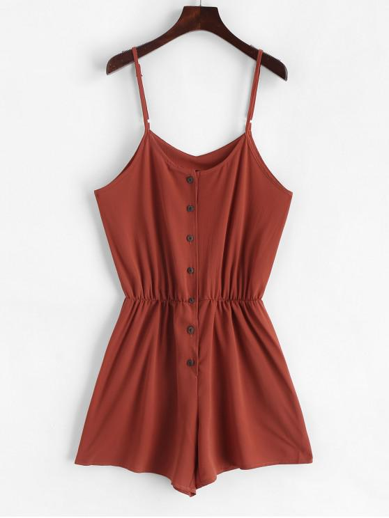 affordable Elastic Waist Button Up Cami Romper - RUST M