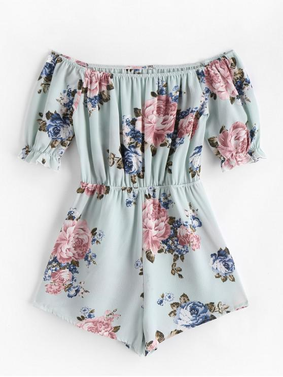 hot Elastic Waist Off Shoulder Floral Romper - GREEN L