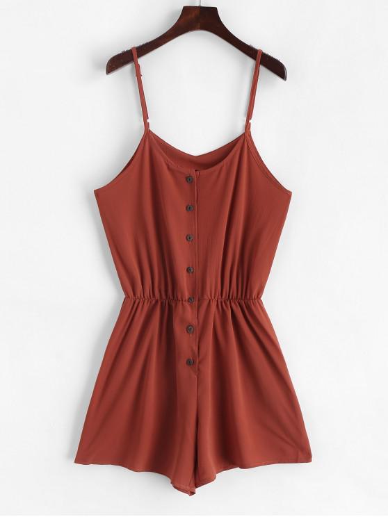 shops Elastic Waist Button Up Cami Romper - RUST XL