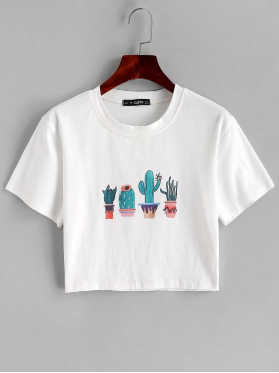 affordable ZAFUL Round Neck Cacti Graphic Crop Tee - WHITE M