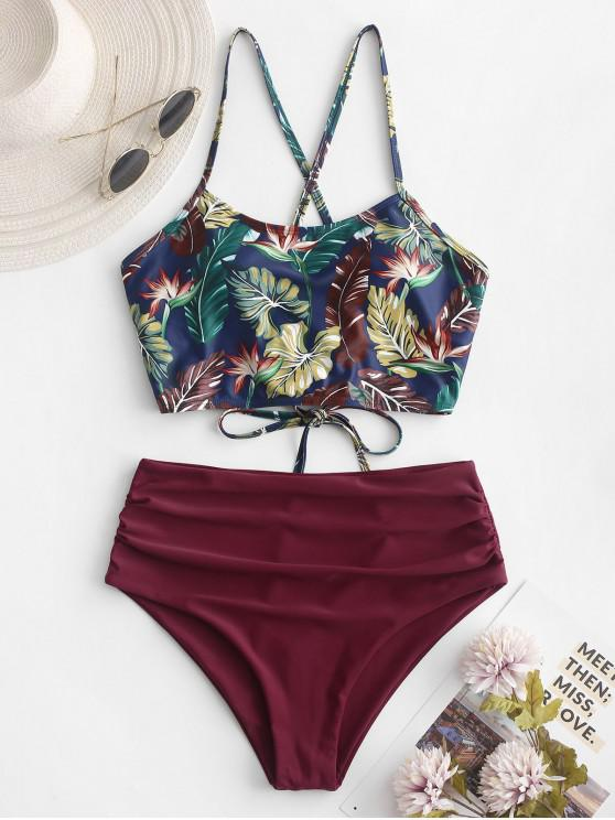 women's ZAFUL Leaf Print Crisscross Ruched Tankini Swimsuit - PLUM PIE M