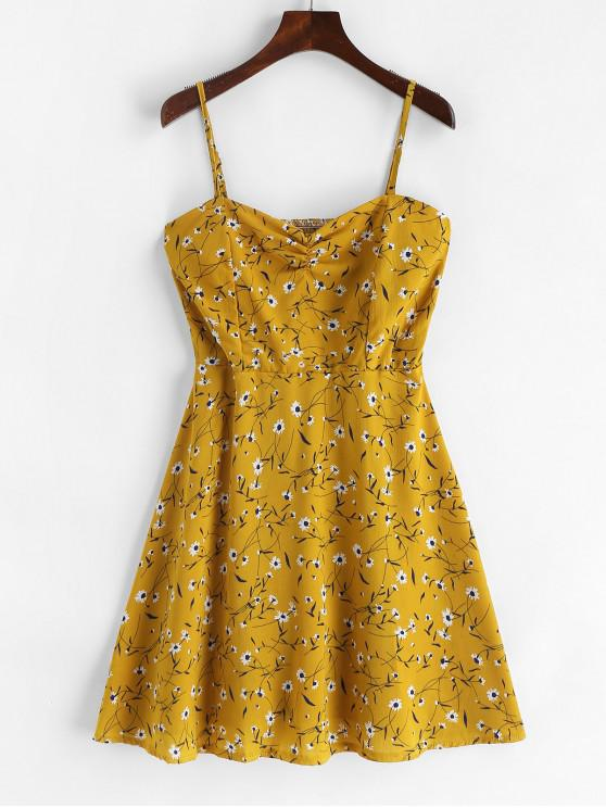 trendy Ruched Floral Smocked Cami Mini Dress - BEE YELLOW S