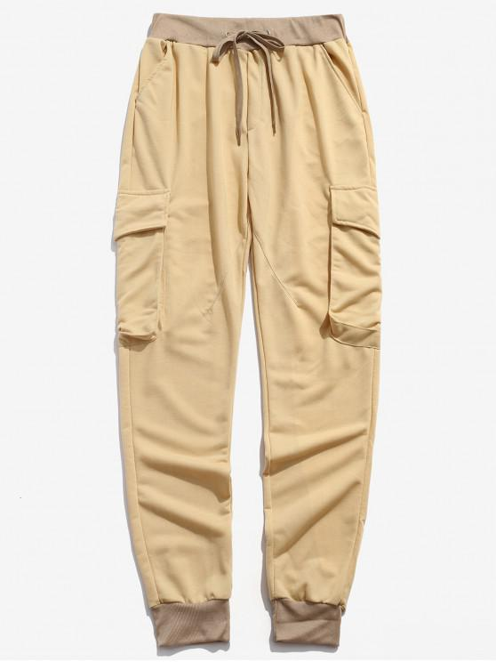 Pantaloni Jogger casual con coulisse e tasca laterale - Fiore Giallo 3XL