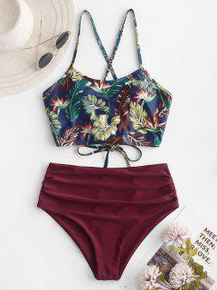 ZAFUL Leaf Print Crisscross Ruched Tankini Swimsuit - Plum Pie M