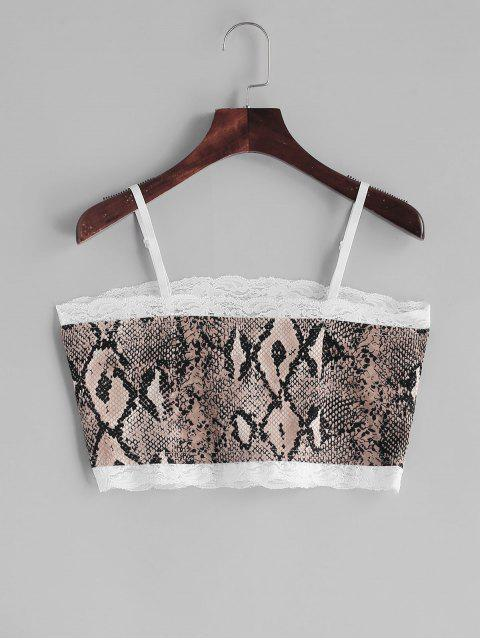 trendy Snakeskin Print Lace Insert Crop Camisole - MULTI-A XL Mobile
