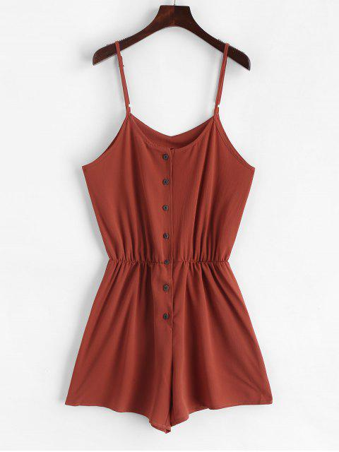 affordable Elastic Waist Button Up Cami Romper - RUST M Mobile