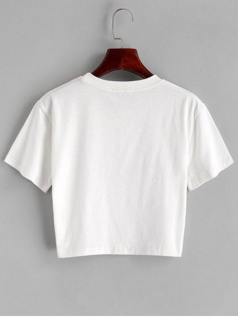 ZAFUL T-shirt Court Graphique Cactus à Col Rond - Blanc S Mobile