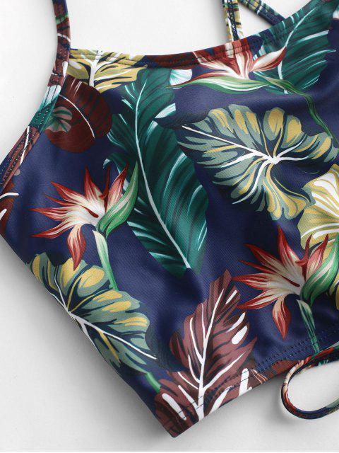 ZAFUL Traje de baño Tankini con pliegues cruzados con estampado de hojas - Pastel de Ciruela XL Mobile