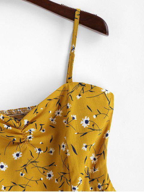 Mini Robe Fleurie Plissée à Volants à Bretelle - Jaune d'Abeille S Mobile