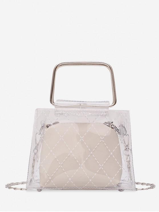 shop Transparent PVC Geometric Design Handbag - WHITE