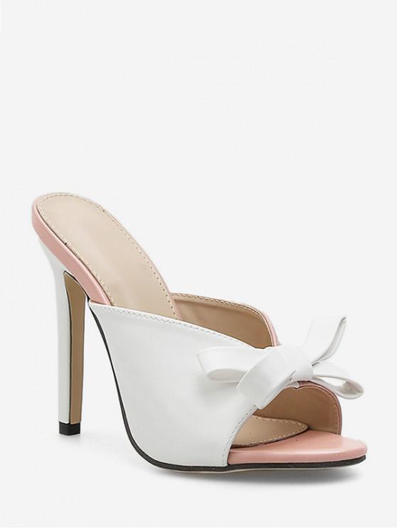 buy Bowknot High Heel Slides Sandals - WHITE EU 38