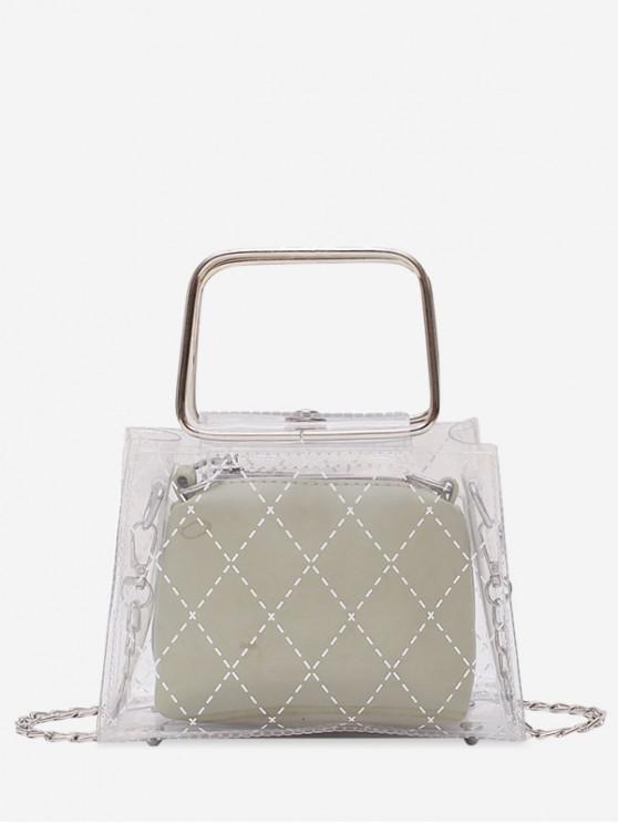 Bolso transparente de PVC con diseño geométrico - Verde