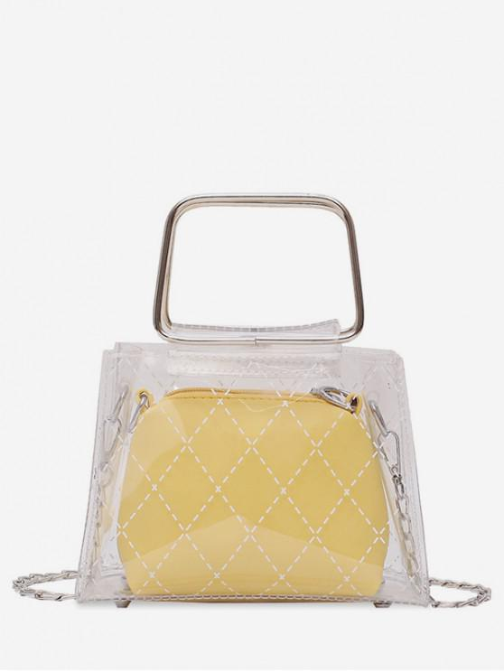 new Transparent PVC Geometric Design Handbag - YELLOW