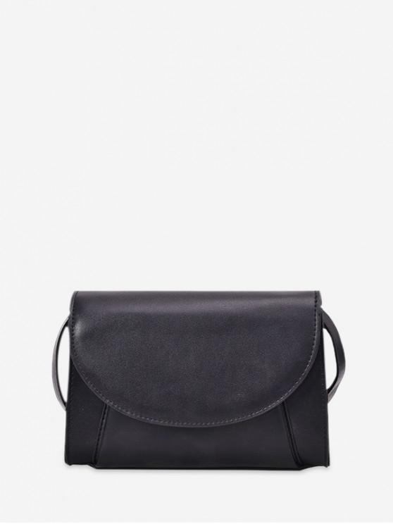 lady Contrast Color PU Flap Crossbody Bag - BLACK