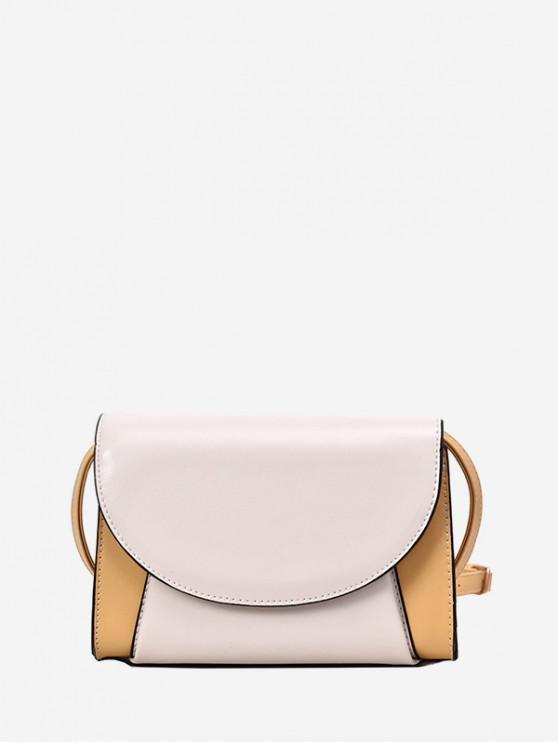 hot Contrast Color PU Flap Crossbody Bag - YELLOW