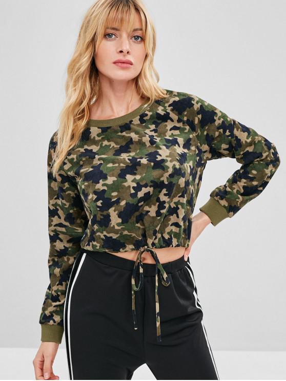 lady ZAFUL Corduroy Camo Raglan Sleeve Sweatshirt - ACU CAMOUFLAGE S