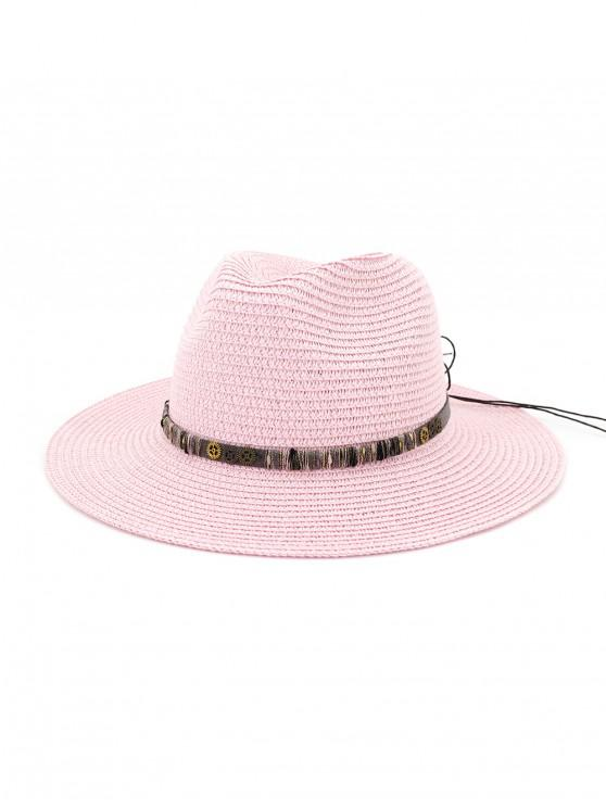 ladies Rope Bowknot Gear Straw Hat - HOT PINK