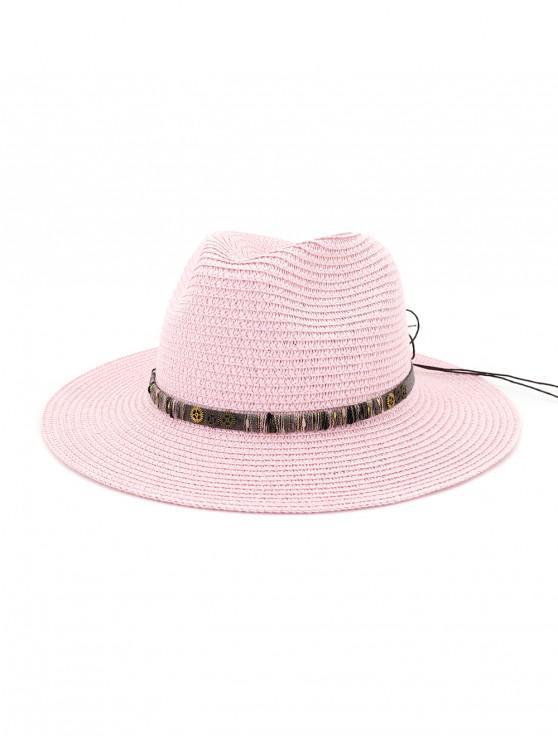 Sombrero de paja del engranaje del Bowknot de la cuerda - Rosa Brillante