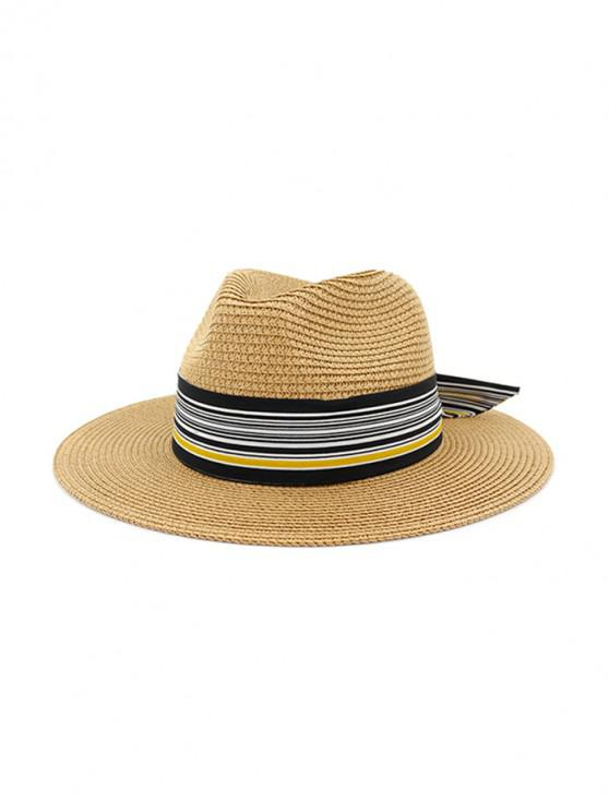Sombrero de paja de nudo estampado a rayas - Caqui