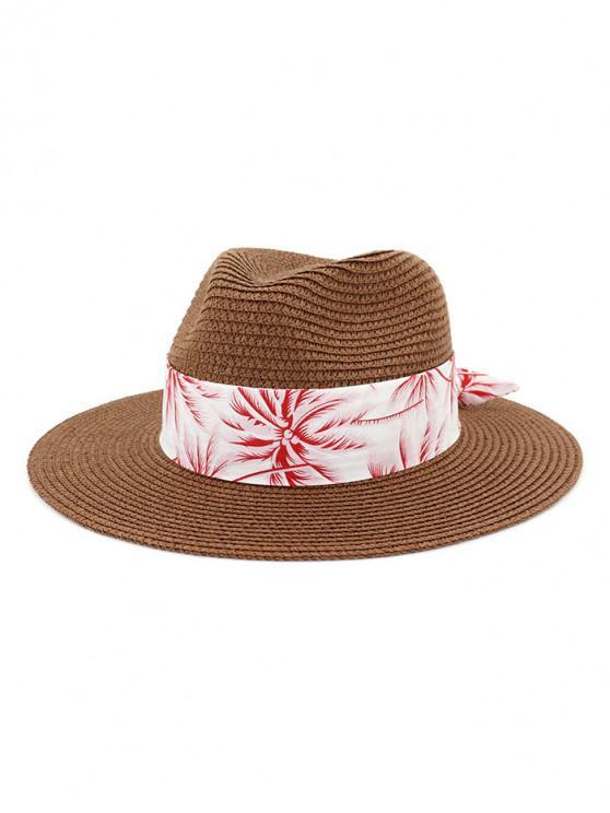 Sombrero de paja de playa con estampado de árboles de coco - Café