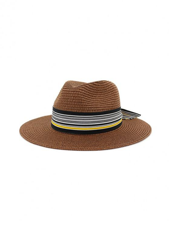 online Striped Printed Knot Straw Hat - COFFEE