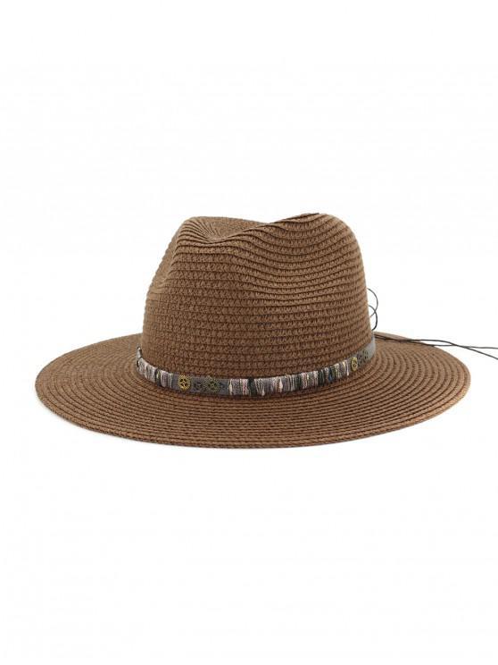 Sombrero de paja del engranaje del Bowknot de la cuerda - Café