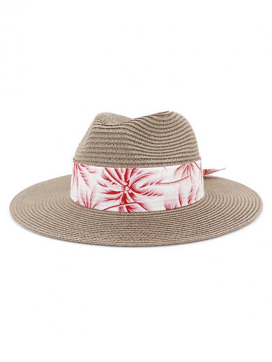 Sombrero de paja de playa con estampado de árboles de coco - Gris Oscuro