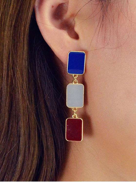 Boucles d'Oreilles Rectangle Pendantes - Or