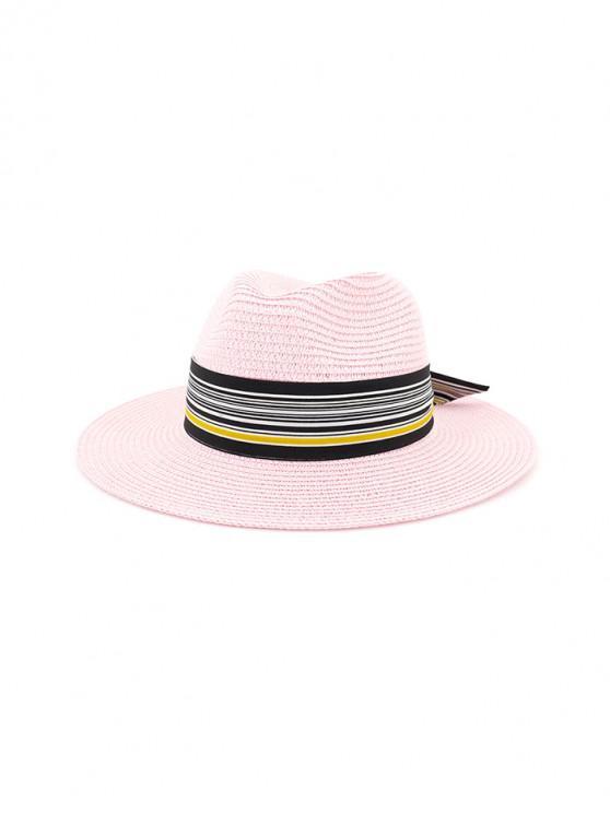 Sombrero de paja de nudo estampado a rayas - Rosa Brillante