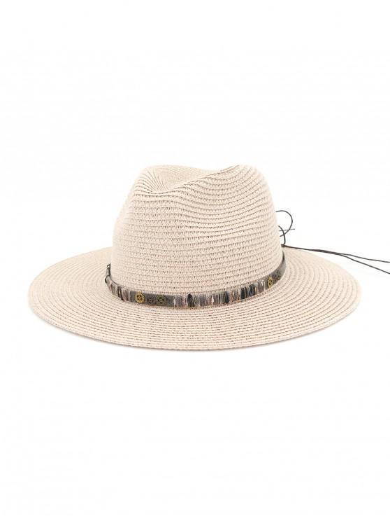 Sombrero de paja del engranaje del Bowknot de la cuerda - Rosa Claro