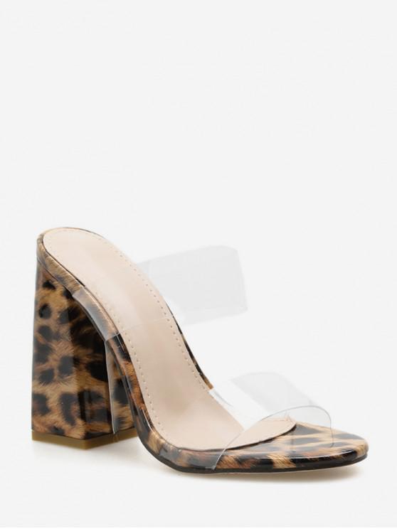 sale Leopard Transparent Strap Chunky Sandals - LEOPARD EU 39