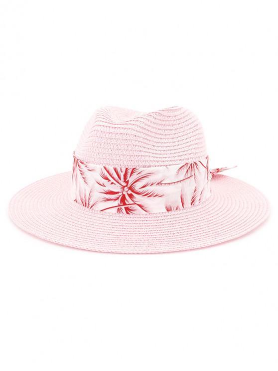 Sombrero de paja de playa con estampado de árboles de coco - Rosa Brillante