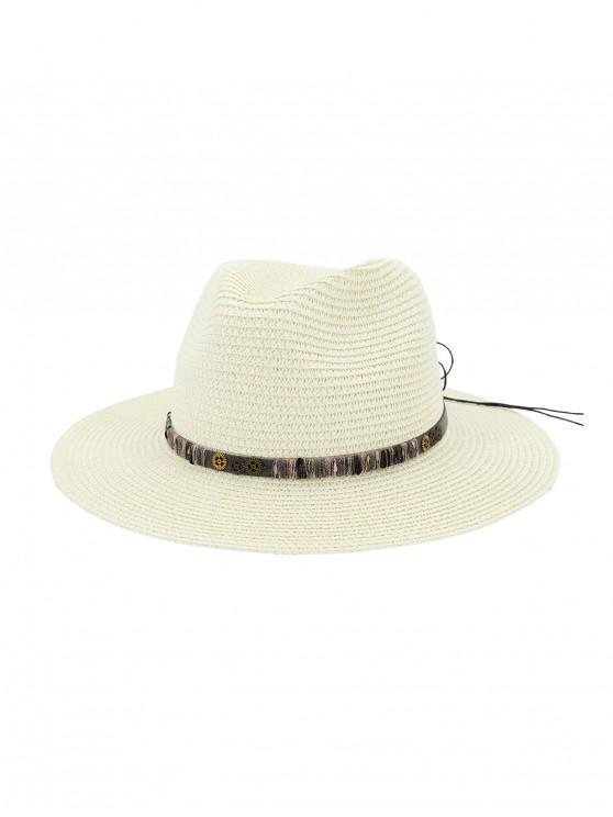 Sombrero de paja del engranaje del Bowknot de la cuerda - Blanco