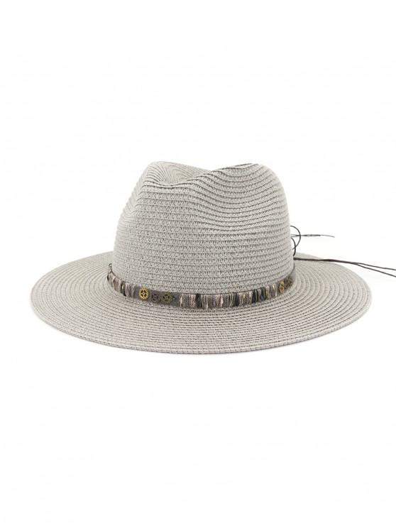 ladies Rope Bowknot Gear Straw Hat - GRAY