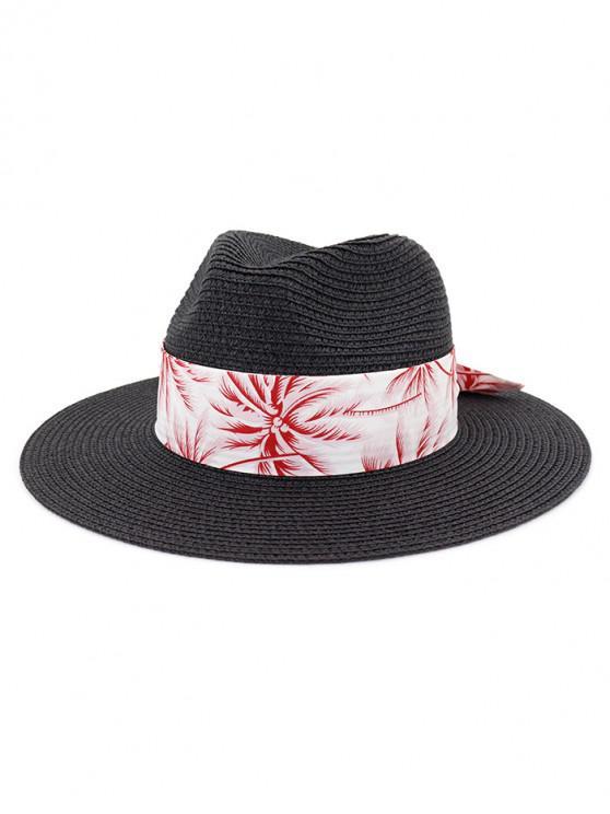 Sombrero de paja de playa con estampado de árboles de coco - Negro
