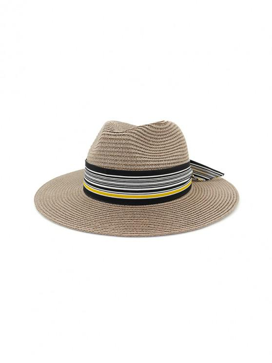 Sombrero de paja de nudo estampado a rayas - Gris Oscuro