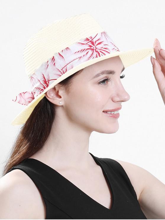 Sombrero de paja de playa con estampado de árboles de coco - Blanco