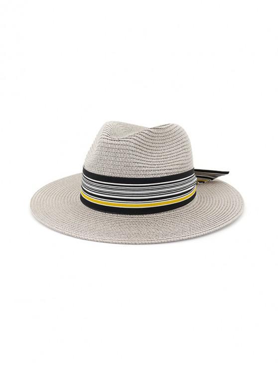 Sombrero de paja de nudo estampado a rayas - Gris