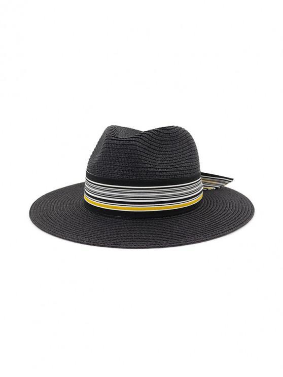 Sombrero de paja de nudo estampado a rayas - Negro