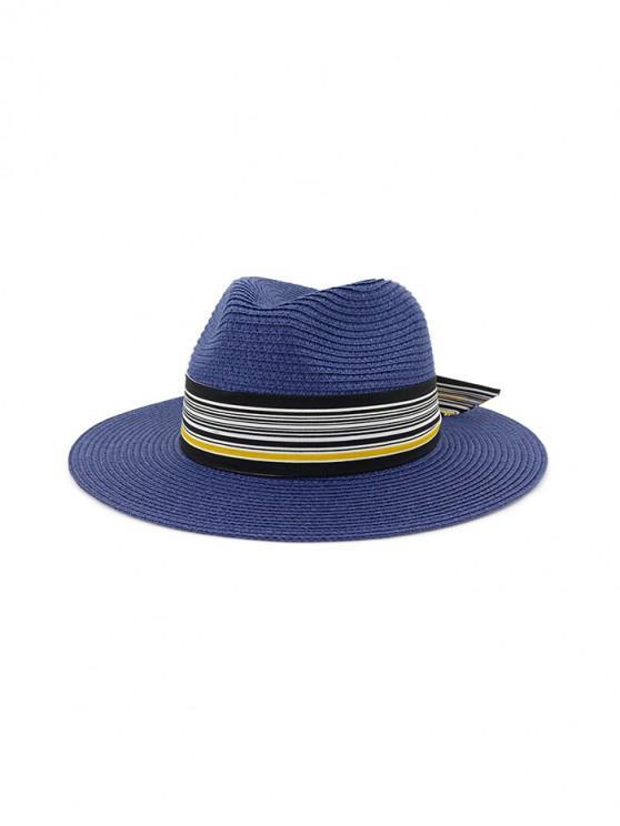 Sombrero de paja de nudo estampado a rayas - Cadetblue