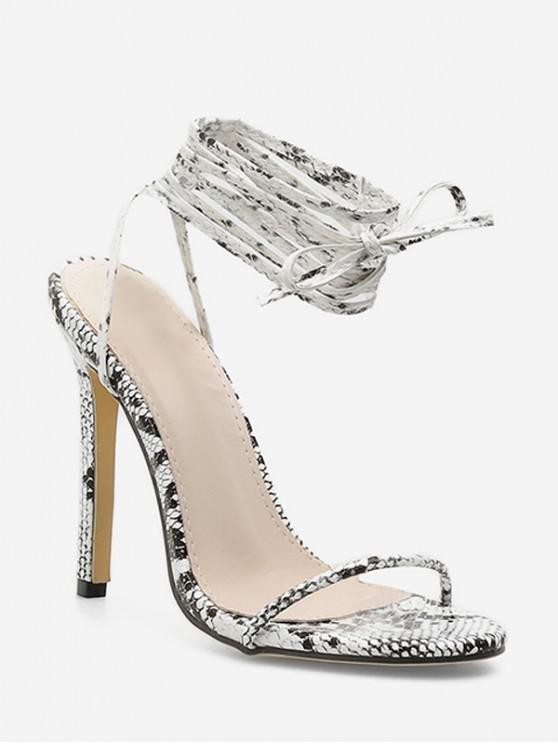 best Snakeskin Print Tie Leg Super High Heel Sandals - SILVER EU 37