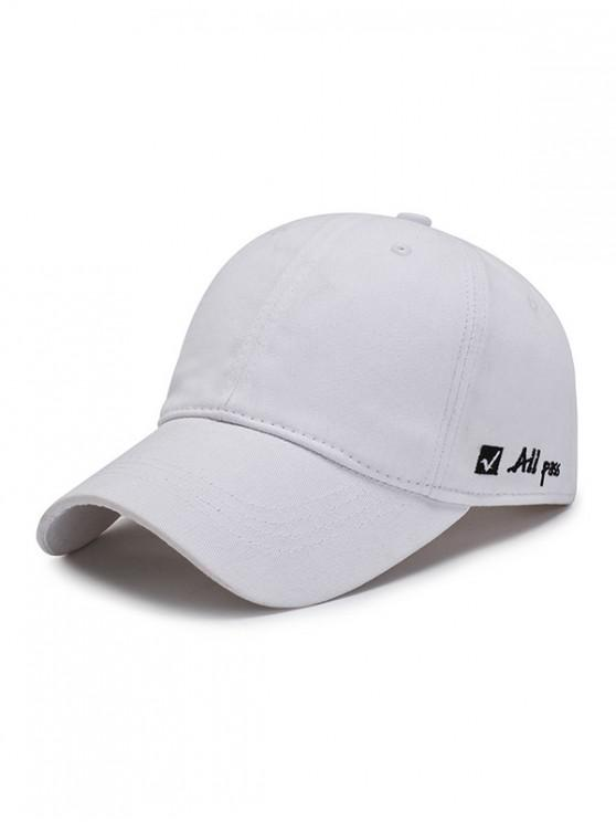 online Letter Embroidered Graphic Baseball Hat - WHITE