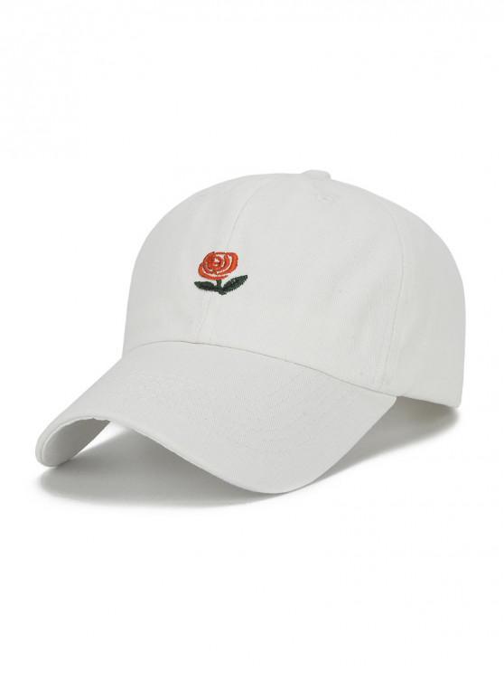 Sombrero de beisbol bordado flor y letras - Blanco