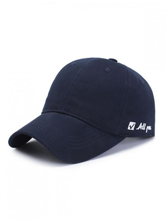 Sombrero de beisbol gráfico bordado carta - Azul Profundo